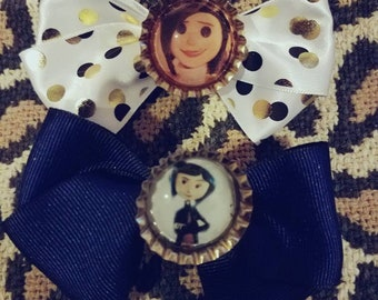 Coraline and the Other Mother, set of 2 Hair Bows