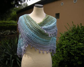 Scarf, crochet scarf, wrap, gradient blue green violet