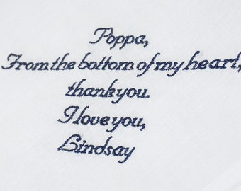 Father of the Bride Custom Embroidered Handkerchief, Men's Handkerchief, Gift for Dad, Father Thank You Gift, FREE Gift Box