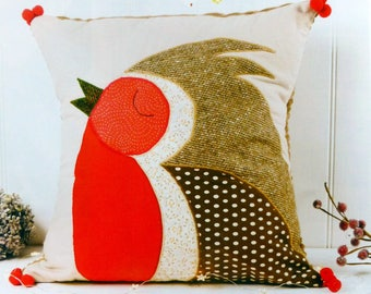"PDF Pattern: Applique Robin Cushion (17"" x 17"")"
