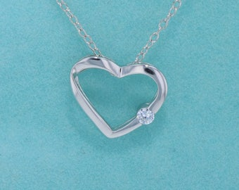 Sterling Silver 925 Open Heart Necklace with Cubic Zirconia and 925 Chain