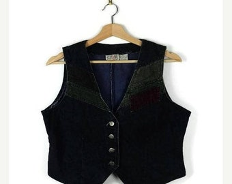 ON SALE Vintage Black/Green/Brown Color blocked  Denim Vest from 80's