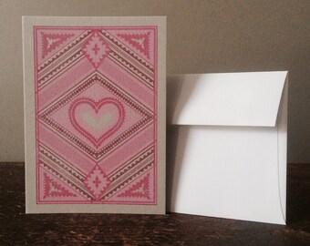 Letterpress Valentines Day Card - Reds on Grey