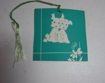 Art Deco 1930's-40's unused colorful Gibson bridge tally card 2 sweet little terrier puppies watching a butterfly bright turquoise color