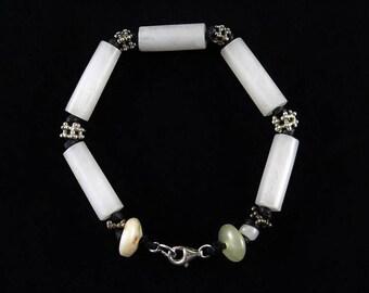White jade tube beads bracelet - Antique ethnic silver - Jade bangle - Jade jewelry
