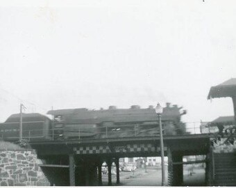 Vintage Original 1940s Photograph of a Steam Engine Locomotive train moving one a bridge B137 from the USA