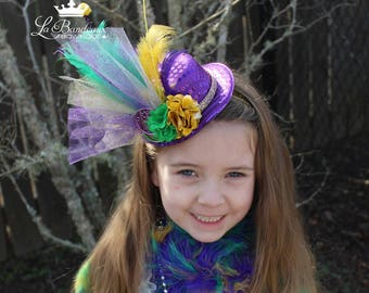 Mardi Gras Mini Top Hat,  Mardi Gras Feather Headband, Infant/Child/Adult Mini Top Hat, Mardi Gras Fascinator Top Hat, Purple Mini Top Hat