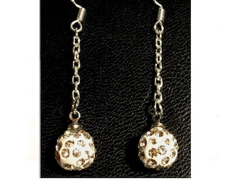 White snowball Crystal ball Earring 925 sterling silver Handmade