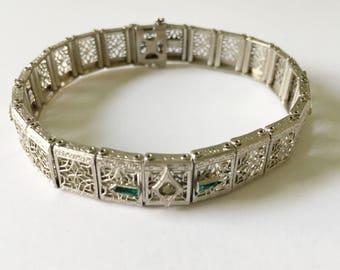 JH Peckham Filigree Bracelet, Art Deco Jewelry, Antique Jewelry, Spider Web Filigree Rhinestone Bracelet, Art Deco Bracelet Antique Bracelet