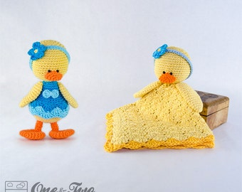 Combo Pack - Duck Lovey and Amigurumi Set for 7.99 Dollars - PDF Crochet Pattern - Instant Download - Special Offer Pattern Pack Animal