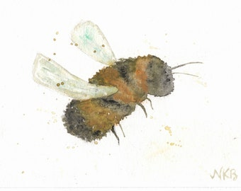 Watercolor + Pastel Bumble Bee Notecards - Set of 4 Bumble Bee Notecards with Envelopes