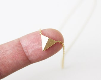 Silver Tiny Triangle Charm Necklace . Dainty and Simple Necklace Bridesmaid Gifts Bridesmaid Necklace Birthday Gifts