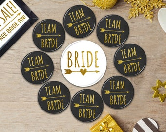 Team Bride Buttons, Team Bride Badges, Pins, Bachelorette Party Decor, Bachelorette Party Buttons, Bridal Party Gift, Arrow, Bridal Shower