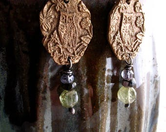 owl earrings : woodland jewelry - nature jewelry - floral jewelry - handcrafted bronze, sterling silver