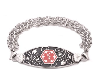 Medical ID Stainless Triple Strand Filigree Bracelet  - 6 Pre-Engraved Conditions