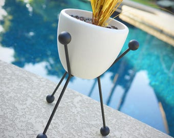 Mid Century Planter with Stand Modern Sputnik Tripod Base & Ceramics  - Eames Era Bullet Vintage Style Hairpin Pottery with Pot IP