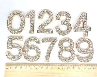 Rhinestone Numbers Set In Gold Tone Or Silver Tone Metal High Quality 48mm.