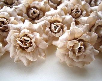 24 Cream Rainbow mini Roses Heads - Artificial Silk Flower - 1.75 inches - Wholesale Lot - for Wedding Work, Make Hair clips, headbands