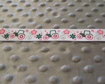 5 Yards 7/8 Inch White Girly John Deere Grosgrain Ribbon