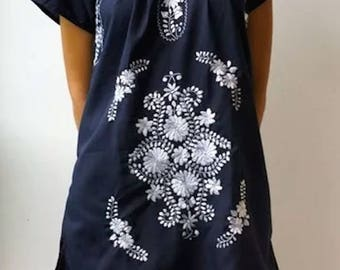 Embroidered Mexican Dress Cotton Tunic In black,Oaxaca.