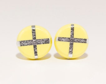 SILVERCROSSES CIRCLE STUDS - Bright Yellow - Polymer Clay Earrings