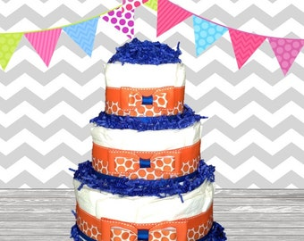 3 Tier Diaper Cake - Baby Shower Gift - Baby Shower Centerpiece - Orange and Navy Polka Dot Theme