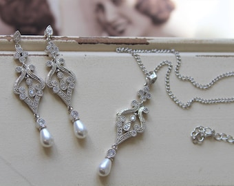 Art Deco Earrings,  Necklace set , Vintage Style Crystal Pearl Earrings, Wedding Earrings,  Filigree  Earrings,  Stud Earrings, Great Gatsby