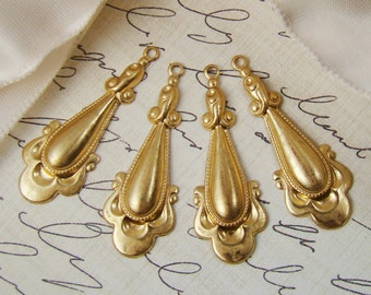 Vintage Style Raw Brass Dangle Drop Earring Findings 33mm Long - 4