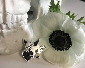 Death Cherub Skull  Pin / Anti Valentine Cupid Heart Love Dark Art / Silver and Black Lapel Enamel Pin