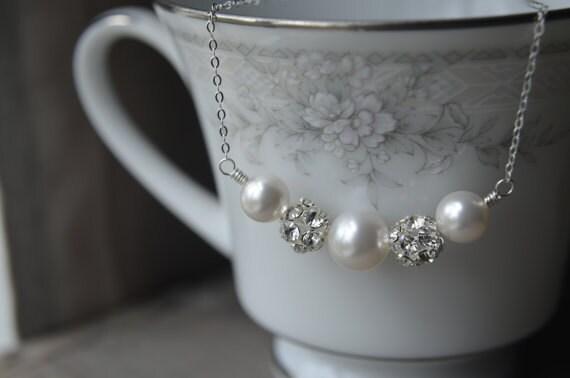 Bridal Pearl Necklace - Sterling Silver Wedding Jewelry, White Swarovski Crystal Pearls, Clear Rhinestone Bead, Simple, Handmade, WBN-439