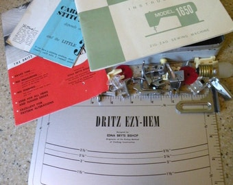 1950s Sears Kenmore Sewing Machine Model 1650 Parts, Booklet, Dritz Ezy Hem Metal guide