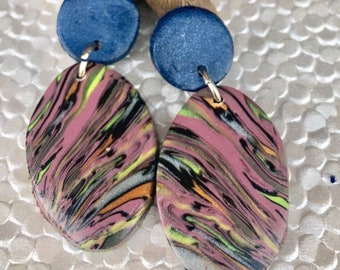 Polymer clay dropp earrings, wave of colors, one of a kind design