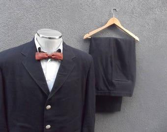 1960s Canadian Pacific Railway Uniform / 60s Vintage Two Piece Suit / Navy Wool Suit 44T / 44 Tall 44 Long / Beaver Logo Men Suit / CP Rail