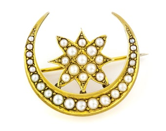 Antique Crescent Moon Pearl Brooch c.1900 // Victorian Edwardian 15ct Gold Brooch // Moon and Star // June Birthstone Jewellery