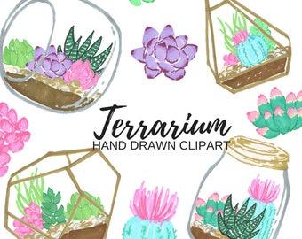 Terrarium clip art - succulent clip art - floral clip art - planting clip art - Commercial Use