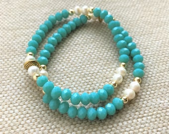 Turquoise crystals and Freshwater pearls bracelet