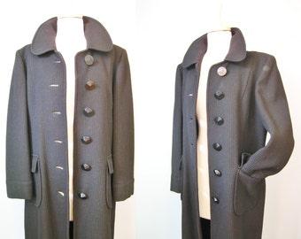 Black Coat / Vtg 60s / Handmade Black Textured Wool Coat with big pockets