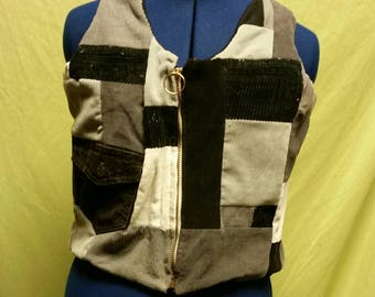 Black and white Corduroy Patchwork Vest sz XS