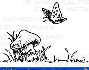Mushroom and Butterfly - colorable digital stamp for gifts, scrapbooks, tags, cards  (Line art by Kir Talmage)