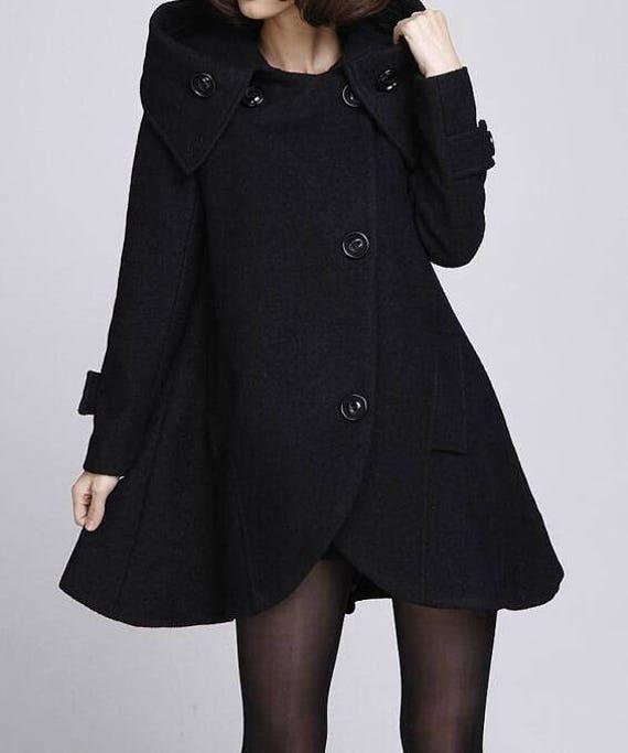 Black cloak wool coat Hooded Cape women Winter wool coat girls coat