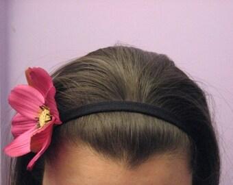Black Elastic Headband with Pink Lotus Flower