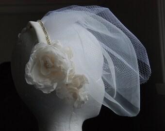 Ivory birdcage veil; ivory floral birdcage veil, ivory beaded veil