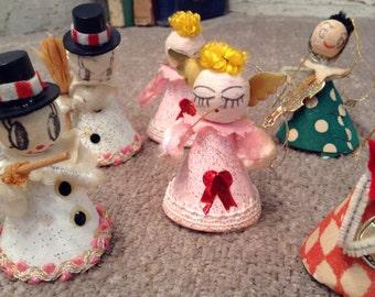 Vintage Christmas Spun Cotton Cardboard Chinelle Cone Ornaments - Japan