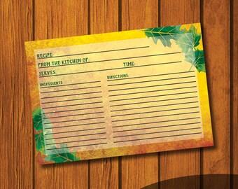 Fall Recipe Card / Autumn Recipe Card / Recipe Card / Orange Recipe Card / Instant Download / 3x5 Recipe Card / Blank recipe card / DIY