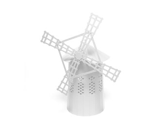 White White Windmill, assembled model with four wings || 10 inches or 24 cm high || great for interior decoration or as a centerpiece