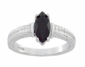 1 Ct Genuine Black Onyx Marquise Ring .925 Sterling Silver