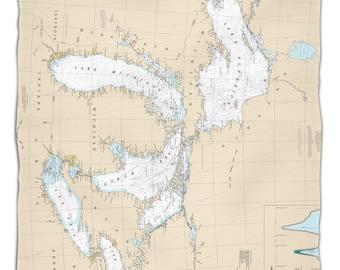 Great Lakes Nautical Chart Fleece Throw Blanket, Map Blanket
