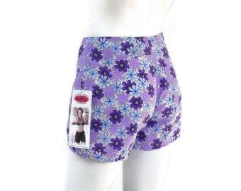 Jantzen Board Shorts for Electric Beach w/Purple Daisy Print Girl Surfer  NOS Dead Stock Vintage Clothing  sz XS #96
