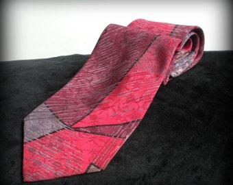 Red, Grey and Maroon Silk Necktie
