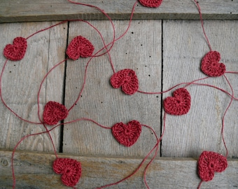 Crocheted burgundy red hearts garland, wedding garland, wall Hanging, Crochet Wedding Garland, crochet ornament, embellishment,applique